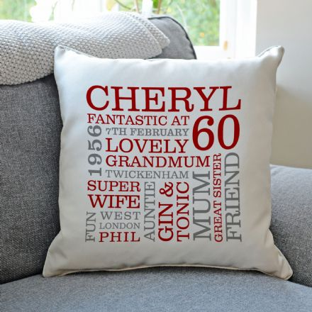 Personalised 60th Birthday Word Art Cushion